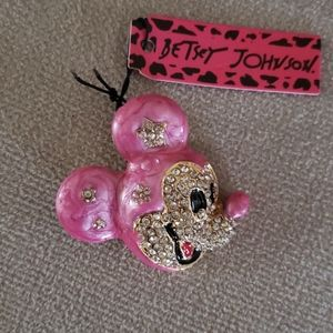 NWT Betsey Johnson Enamel Mickey Mouse Brooch/Pin
